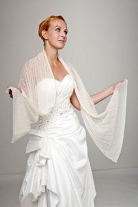 Bridal knit stole for your wedding dress or skirt ivory and white