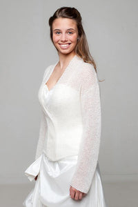 Wedding knit jacket look through made of alpaca wool for Brides
