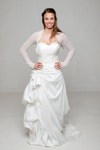 Bridal knit bolero for birdes in ivory and white with hearts