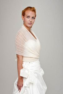 Bridal pashmina made for your wedding dress or skirt ivory and white
