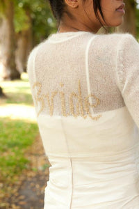 Knit bolero jacket with your personalized wording