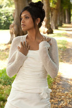 Load image into Gallery viewer, Knit couture bridal bolero ivory and white for US Brides and CANADA