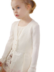Knit bolero for flower girls in ivory with knots