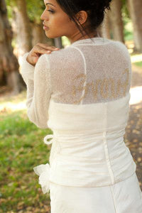 Knit Bolero ivory and gold for your bridal gown with letters