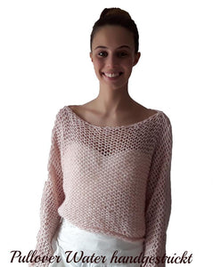 Handknitted bridal sweater made of soft wool cotton merino