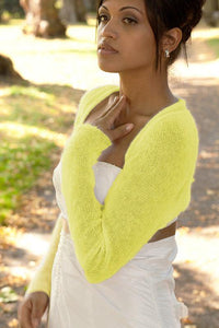 knit jacket for your bridal gown bohemian wedding light yellow