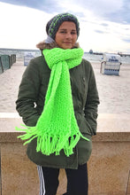 Load image into Gallery viewer, Lightining scarf with hut neon green
