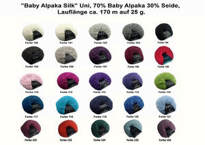 Colour chart baby alpace with silk for bridal sweater lace