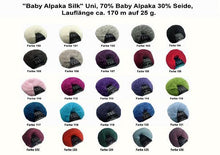 Load image into Gallery viewer, Colour chart baby alpace with silk for bridal jackets