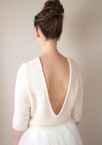 Knit sweater white and ivory for bridal gowns