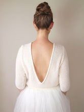 Load image into Gallery viewer, Wedding sweater CHILLY knitted in a soft lace pattern with extra big V-Neck