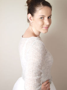 bridal knit pullover light cream with silk