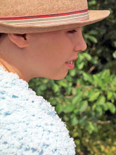 Load image into Gallery viewer, Bolero knitted for girls pale blue, white, berry and brown