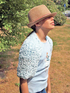 Knit jacket for communion and school beginners pale blue