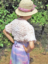 Load image into Gallery viewer, Knit jacket for little girls of fluffy wool rose and pale blue