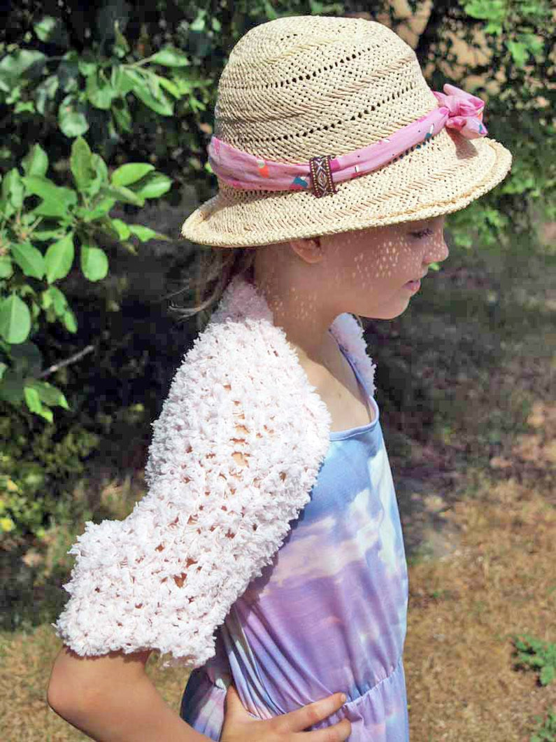 Knit bolero for little girls in rose