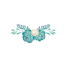 Load image into Gallery viewer, heat transfer textile sticker flowers cream turquoise
