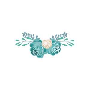 heat transfer textile sticker flowers cream turquoise
