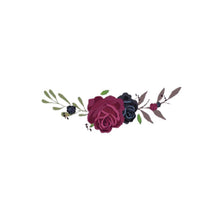 Load image into Gallery viewer, heat transfer textile sticker flowers dark red black