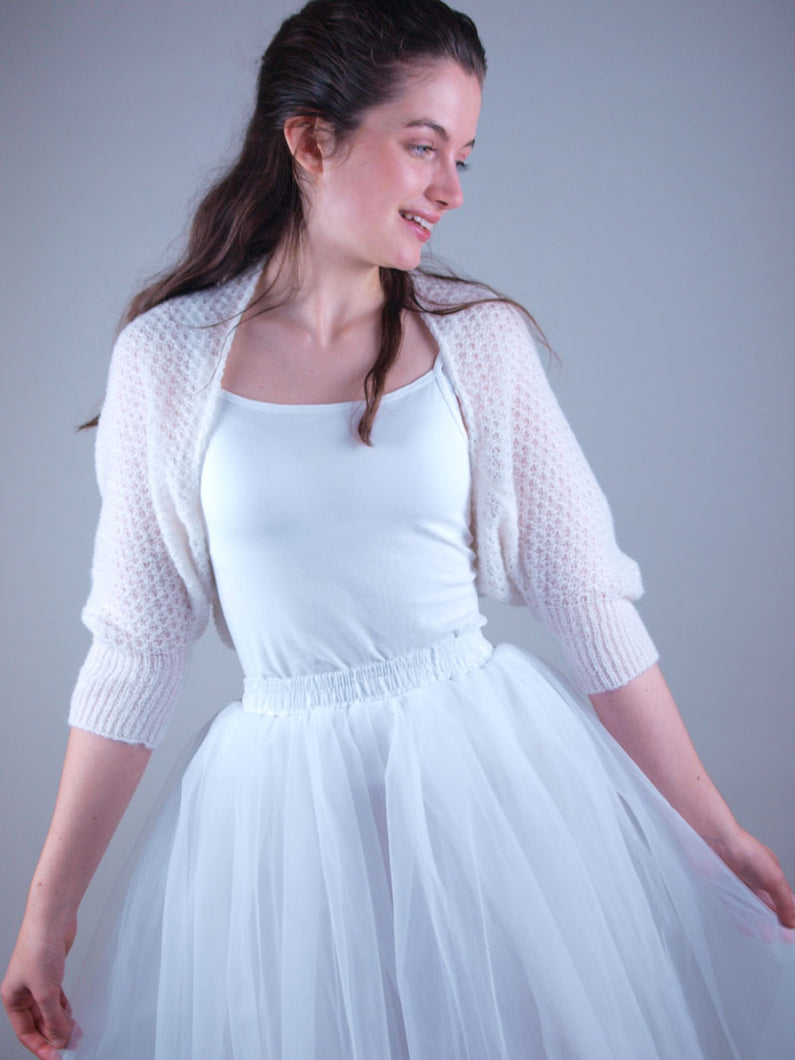 Lace knit bolero for brides in ivory