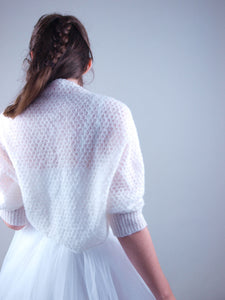 Lace knit bolero for brides in ivory and rose
