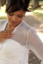Load image into Gallery viewer, Knit Bolero ivory and blush for your bridal gown with letters