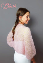 Load image into Gallery viewer, HAND KNITTED Bolero SKY  cuddly and soft in big pattern for your Vintage Wedding