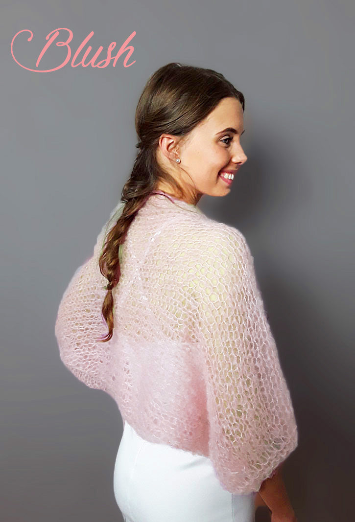 HAND KNITTED Bolero SKY  cuddly and soft in big pattern for your Vintage Wedding
