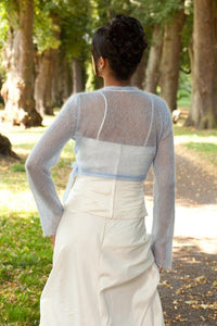 Knit Bolero pale blue for your bridal gown with letters