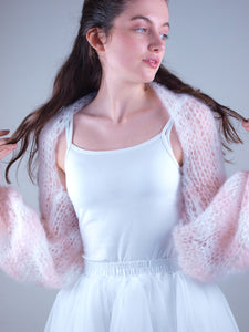 Bridal knit wear: Bolero shoulderwarmer in white