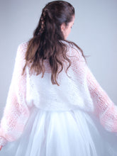 Load image into Gallery viewer, Bridal knit jacket in powder and ivory
