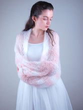 Load image into Gallery viewer, Knit bolero loose for brides in white and powder