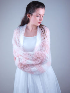 Knit bolero loose for brides in white and powder