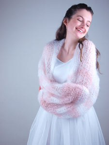 Knit bolero loose for brides made of soft mohair