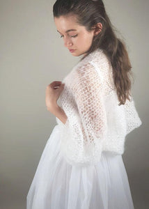 Bridal knit bolero for wedding skirts