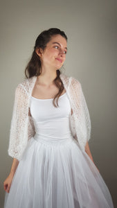 Soft knit bolero for wedding skirts