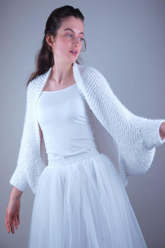 Knit jacket in white for brides