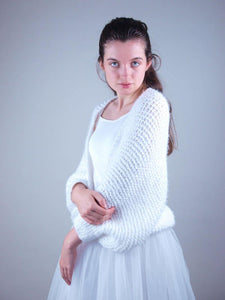Knit jacket in white for bridal knit wear
