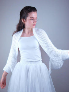 Soft handknitted bolero cardigan for bridal gowns