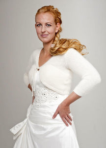 Wedding jacket knitted for Brides made of cashmere merino with 3/4 sleeve ivory