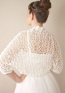 Wedding knit bolero jacket for your bridal gown in ivory