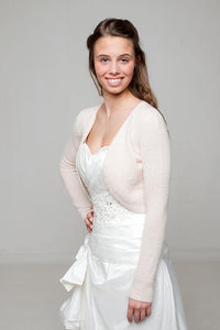 Wedding jacket knitted of cashmere in white and ivory for your wedding dress