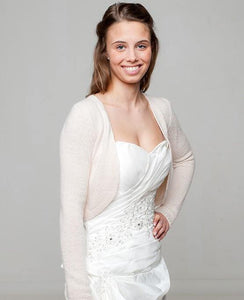 bolero jacket knitted for weddings powder blush