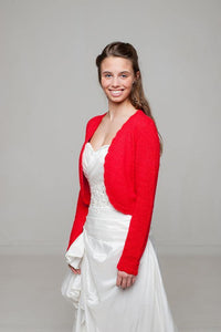 Bridal jacket knitted of cashmere in red and ivory for your wedding dress