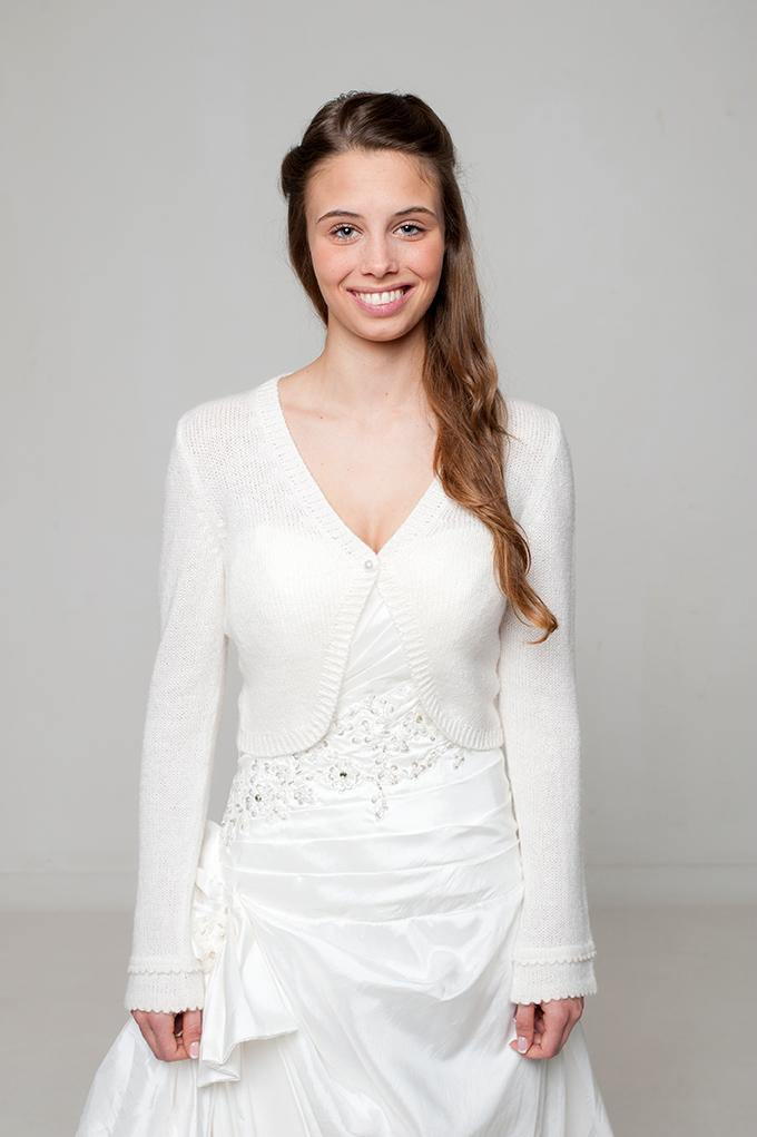 Bridal cardigan for brides knitted in white and ivory