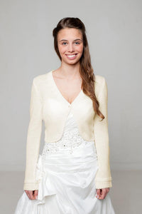 Wedding bolero cardigan for brides knitted in white and ivory and grey