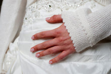 Load image into Gallery viewer, Wedding bolero cardigan for brides knitted in white and ivory