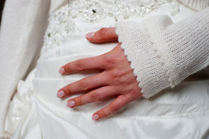 Wedding bolero cardigan for brides knitted in white and ivory