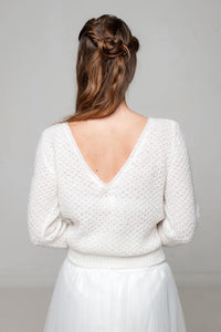 Bridal sweater knitted for your wedding skirt made of cashmere