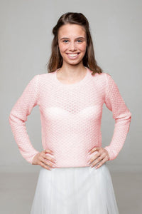 Bridal sweater knitted for your wedding dress or skirt ivory and rose
